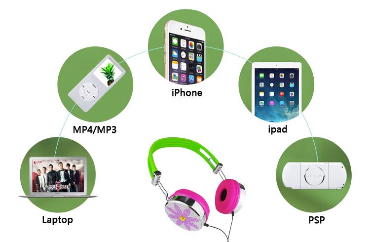 Studio colorful headphones with 40mm speaker