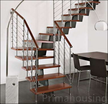 Indoor Hereditary Stainless Steel Wood Attic Spiral Staircase With Pvc Handra