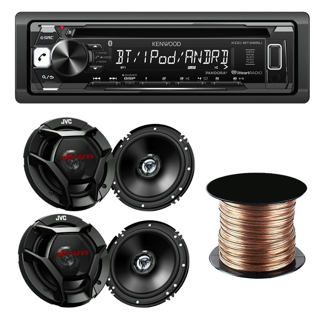 "Kenwood KDC-BT265U Single DIN Bluetooth In-Dash CD/AM/FM Car Stereo + (2)JVC CS-DR620 6.5"" 2-Way Factory Upgrade Coaxial Speakers+ SW1850 Digital Audio Speaker Wire, 18 AWG, (50 feet)"