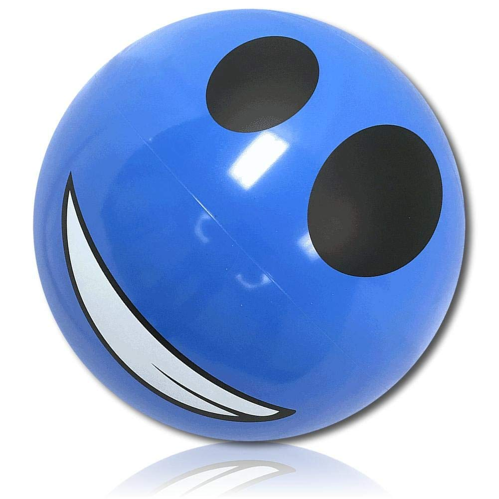 "ULTRA Durable & Custom {16"" Inch} 1 Single of Mid-Size Inflatable Beach Ball for Summer Fun, Made of Lightweight FLEX-Resin Plastic w/ Smiling Face Emoji w/ Clench Teeth & Headphone Style {Blue}"