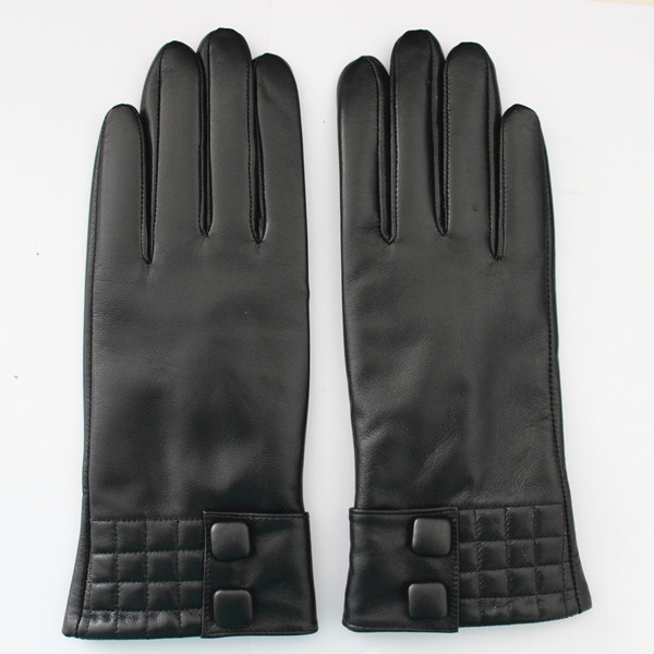 women black patent basic style leather glove from factory