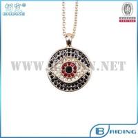 Fashion Turkey evil eye crystal Rhinestone pendant necklace 14k gold plated in necklaces wholesale
