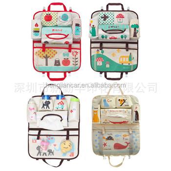 cute cartoon car seat back storage bag travel toy organizer for kids baby