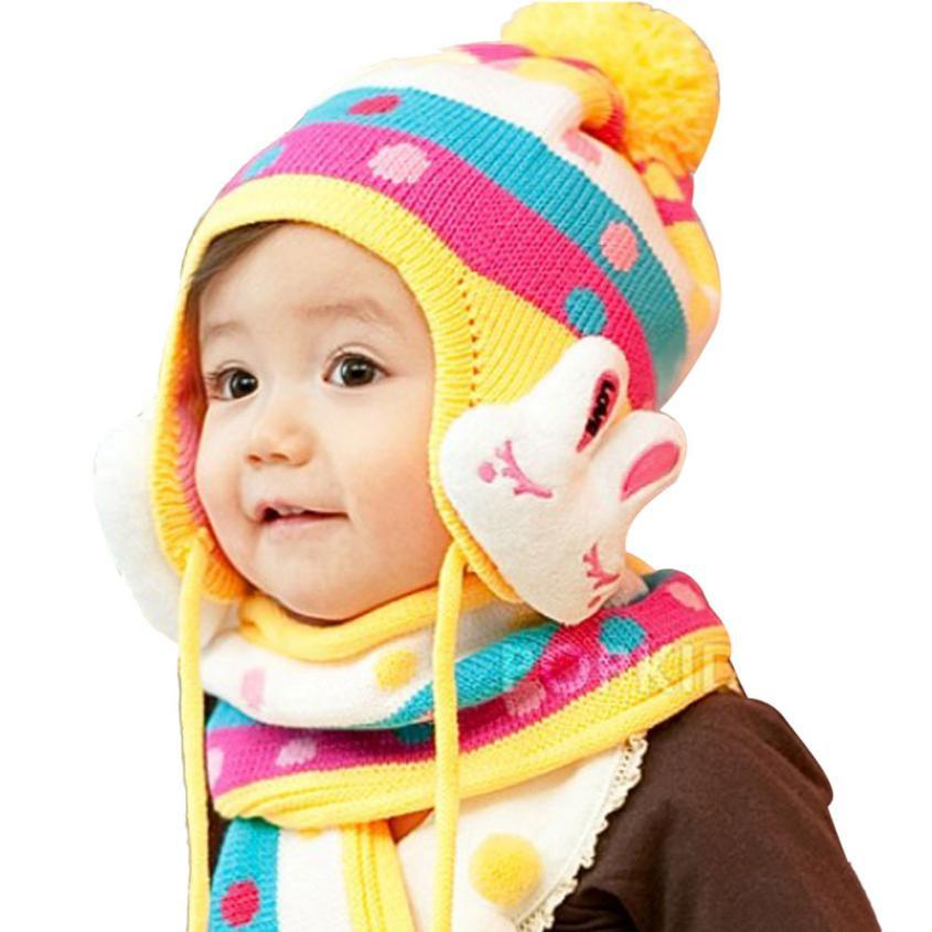 Buy Top Quality Soft Warm Baby Kids Plush Beanie Hat Scarf Sets Cute Winter  Knitting Cap Scarf Sets Lovely Rabbit Princess Hats SE7 in Cheap Price on  ... 97d6091d48e3