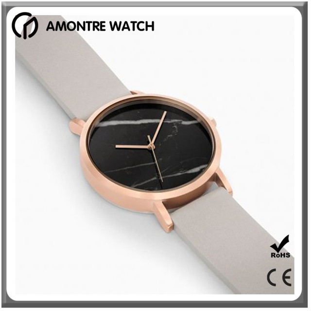 bamboo ladies watches marble dial watches for ladies with leather strap