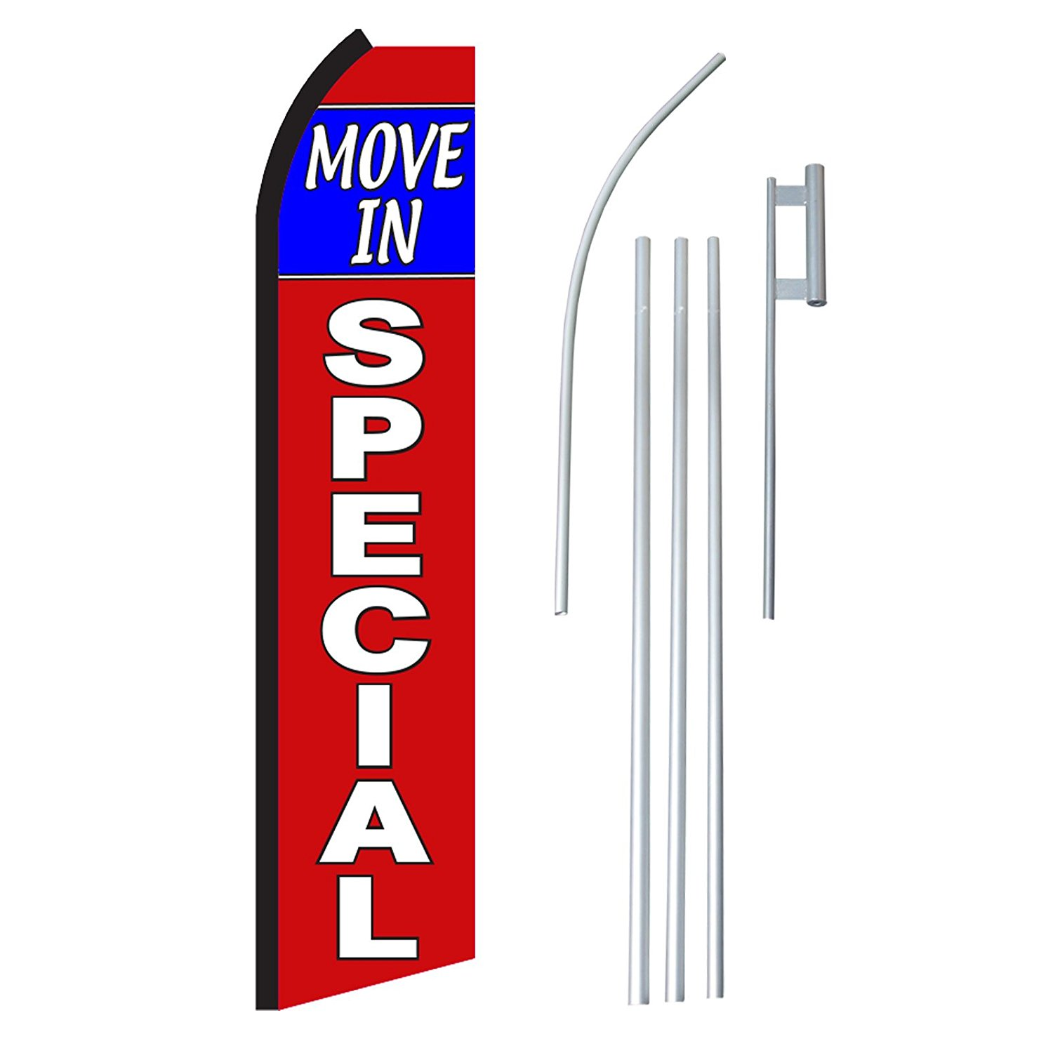 "NEOPlex - ""Move In Special"" Complete Flag Kit - Includes 12' Swooper Feather Business Flag With 15-foot Anodized Aluminum Flagpole AND Ground Spike"