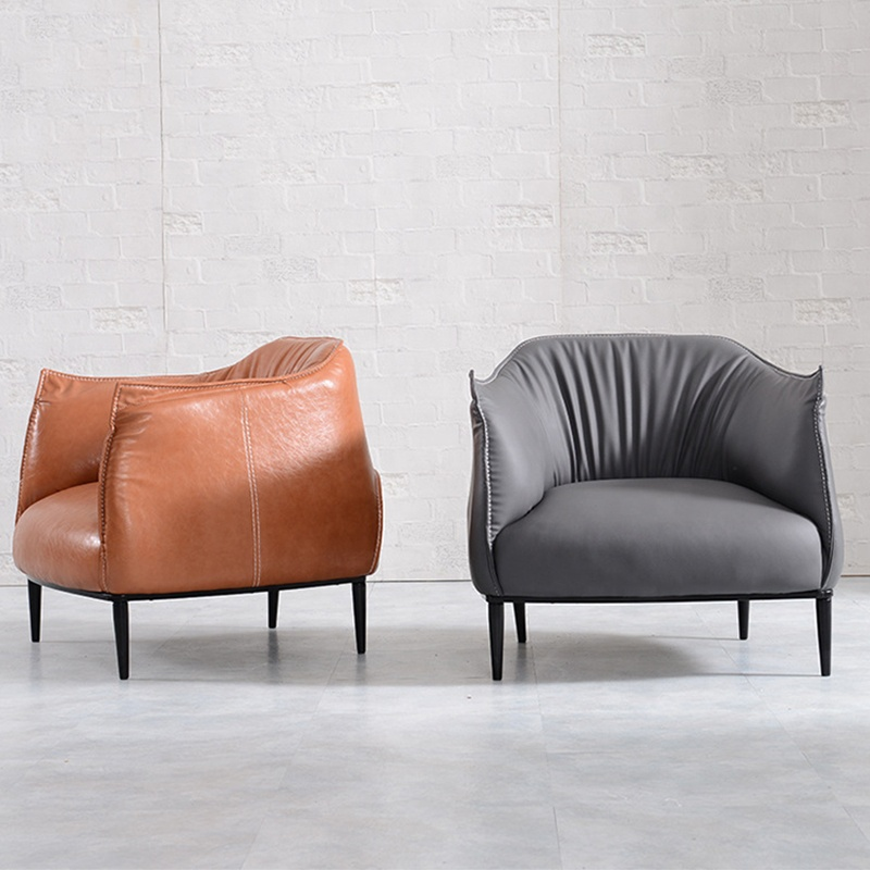 Single Seater Leather Upholstery Sofa