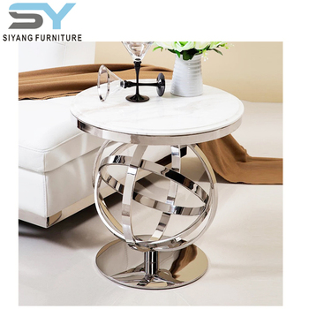 Round Marble Top Golden Stainless Steel Legs Coffee Side Table Jj026