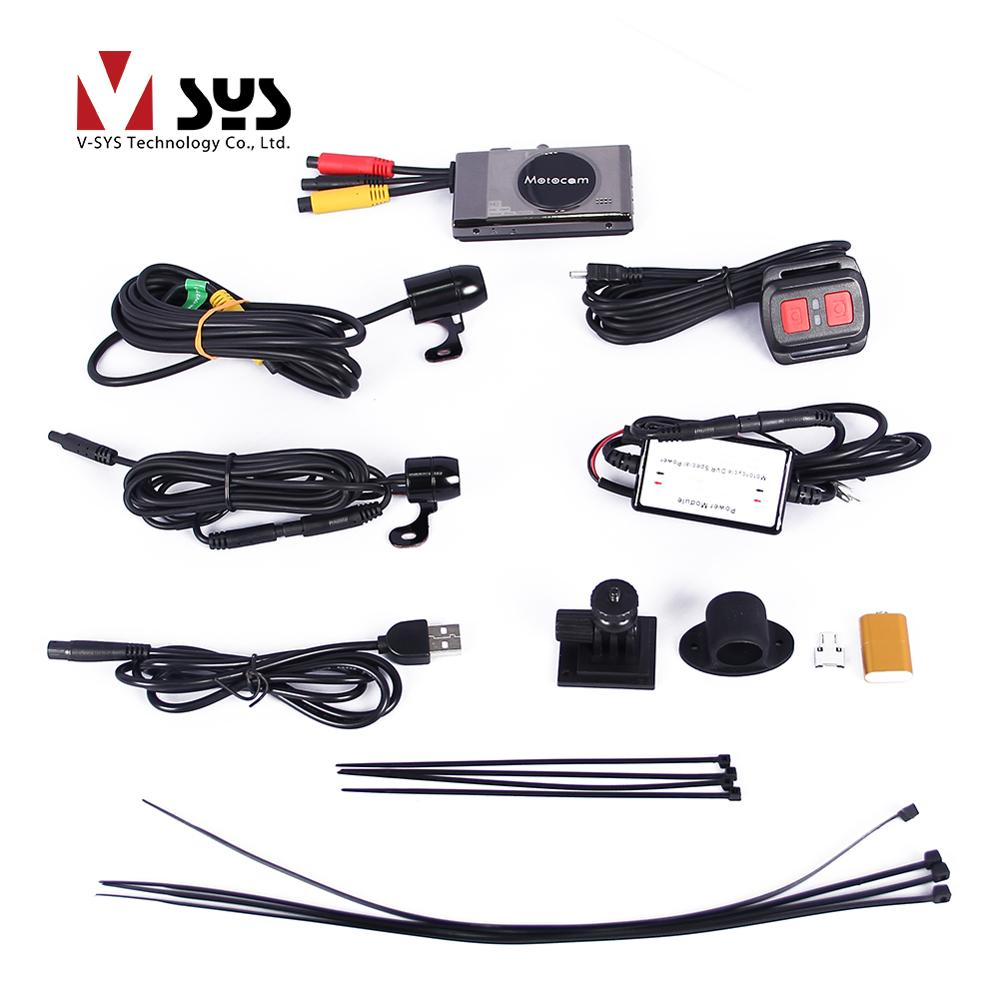 Vsys official 2017 latest T2 3.0'' motorcycle camera DVR with real 1080P FHD front camera and rear view VGA waterproof lens