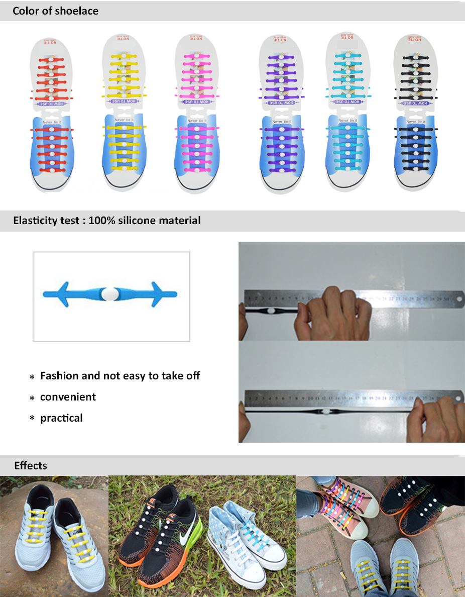 39e9db8e8599 Design your own high quality round elastic silicone shoelaces lazy no tie  shoe laces for shoes