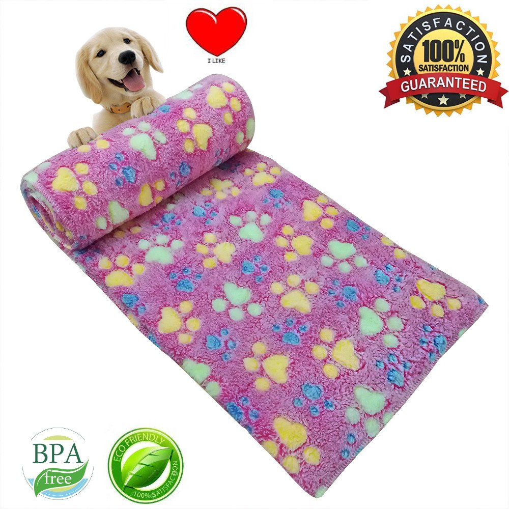 Pet Dog Blanket Fleece Fabric Puppy Cat Soft Blankets Throw For Sleep Mat Couch Sofa Doggy Warm Bed with Paw Prints