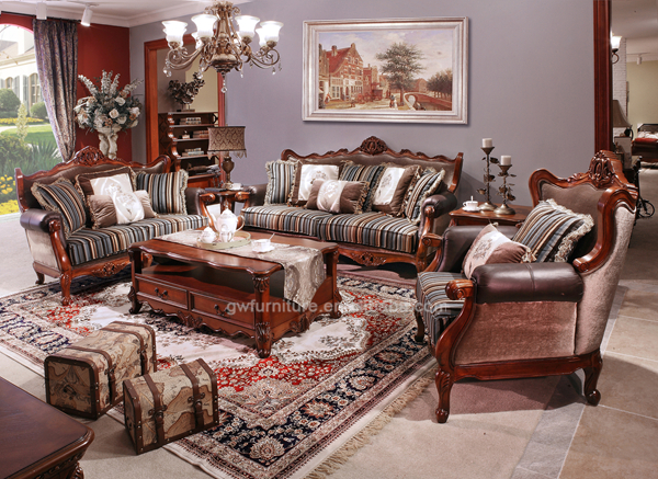 Antique Wood Carving Sofa Design Leather And Fabric Sofa