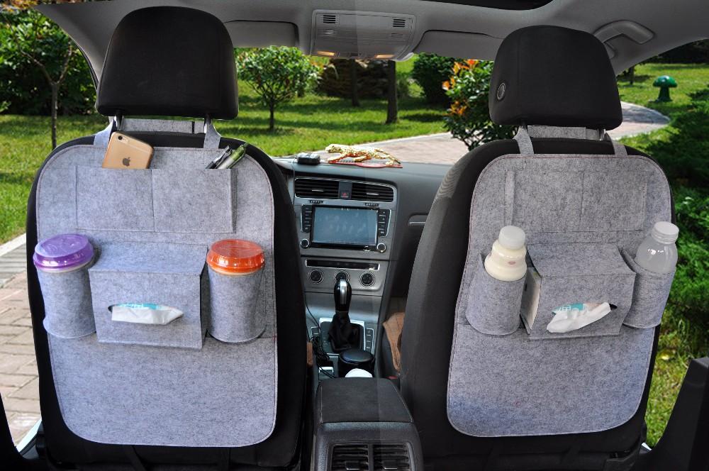 PU Leather Car Back Seat Organizers Storage Bag