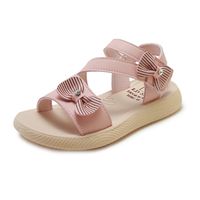 Summer outdoor pu kids girl sandals with Bowknot