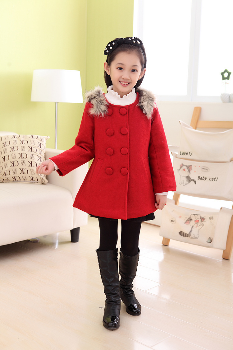 6bb75ae0f0e5 Wholesale Child Female Child Woolen Overcoat Trench Thermal Bow ...