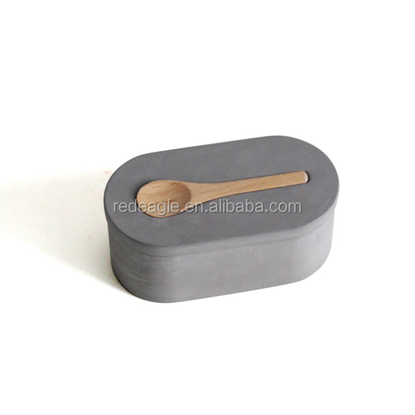 Cement Kitchen Accessories Concrete Salt Cellar With Scoop