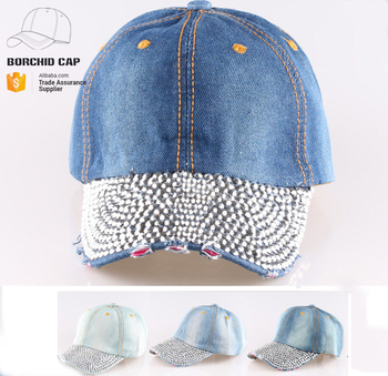 38e7b311 Distressed Worn-out Washed Blue Jean Baseball Cap Rhinestones Wholesale  Fashion Bling Bling Caps And Hats - Buy Bling Bling Wholesale Fashion Caps  And ...