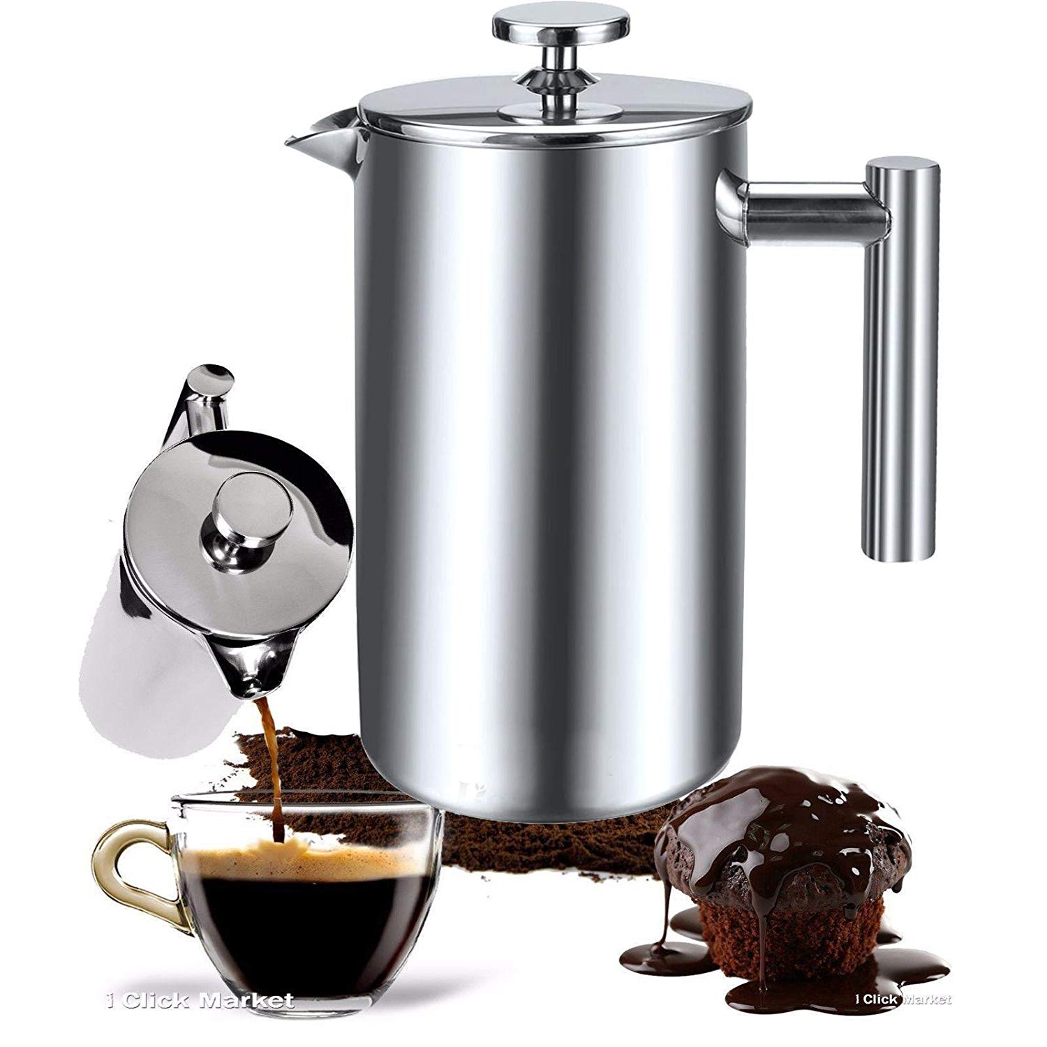 Keland French Press Coffee Maker, Double Wall Construction Coffee Maker Grinder Stainless Steel Coffee Press 8 Cup (34 Oz) (US Stock)
