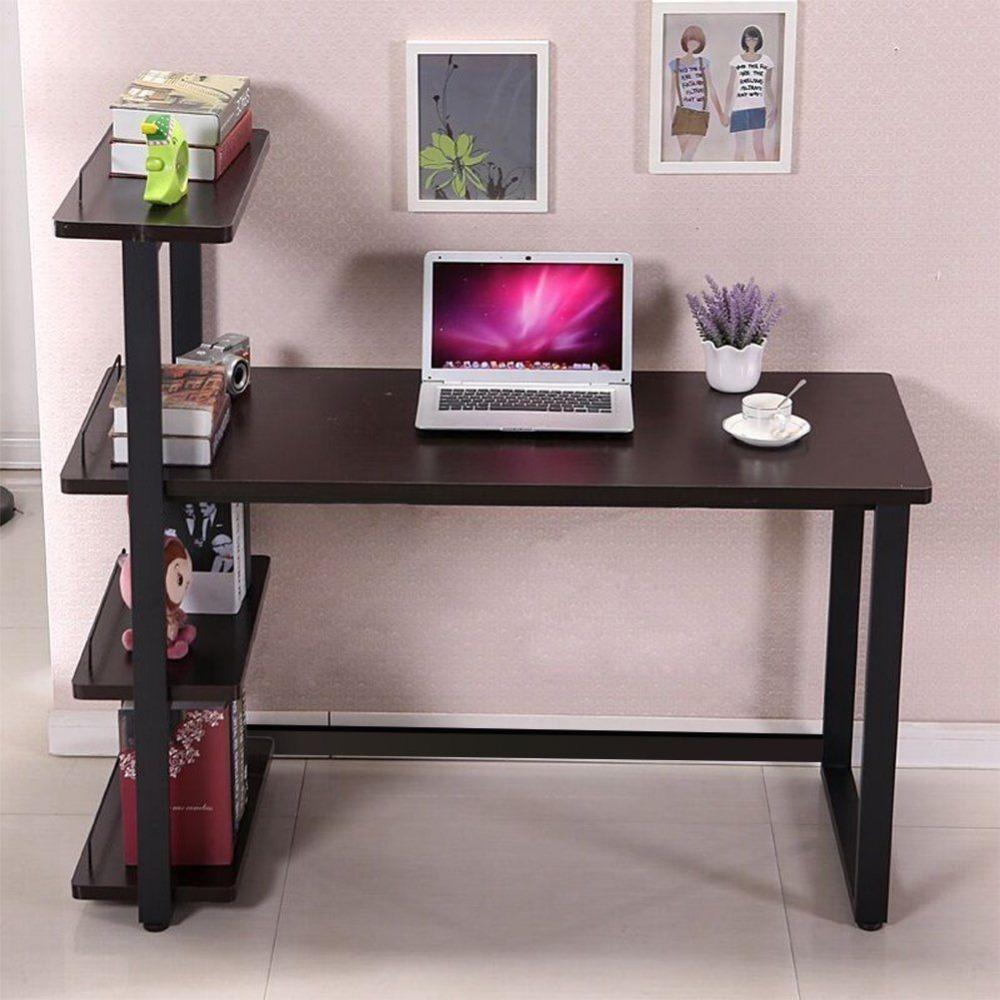 moderno escritorio de oficina en casa esquina mesa de ordenador pc worksation con estantera