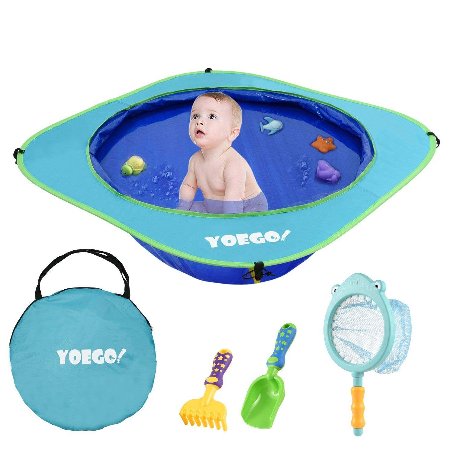 Yoego portable baby beach swimming pool, with baby sand toys including fish net and toy fishes, sand shovel and rake, for babies and toddlers on the beach and indoors