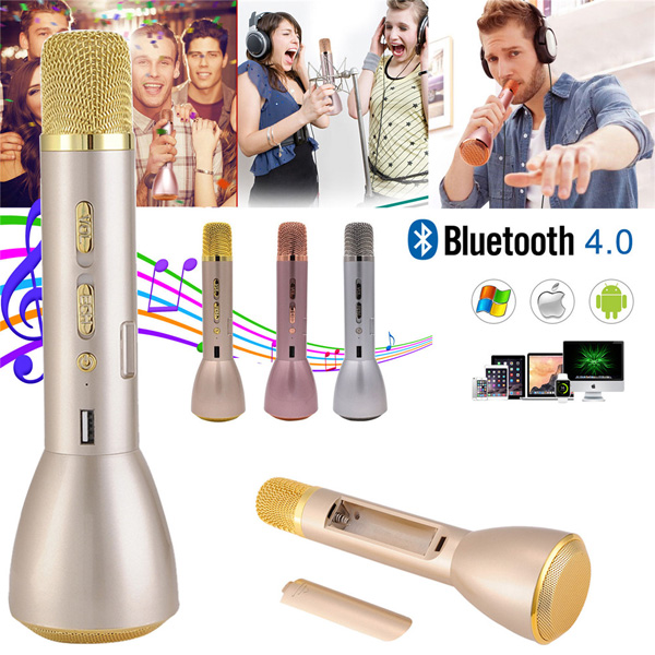 Bluetooth Wireless Speaker Handheld Microphone for Karaoke Singing compatible with Apple iPhone Android