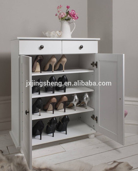 Merveilleux Louver Door Wooden Solid Wood Shoe Cabinet Design With 2 Drawers 4 Layers  Storage