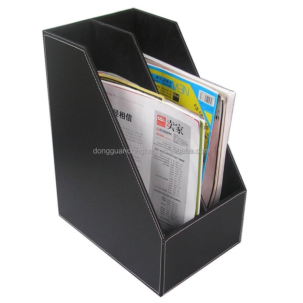 2slot Wood Leather Desk File Document Holder Tray Box Cubbyhole