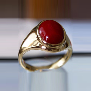 Stainless Steel Gold Single Stone Red Coral Ring Designs