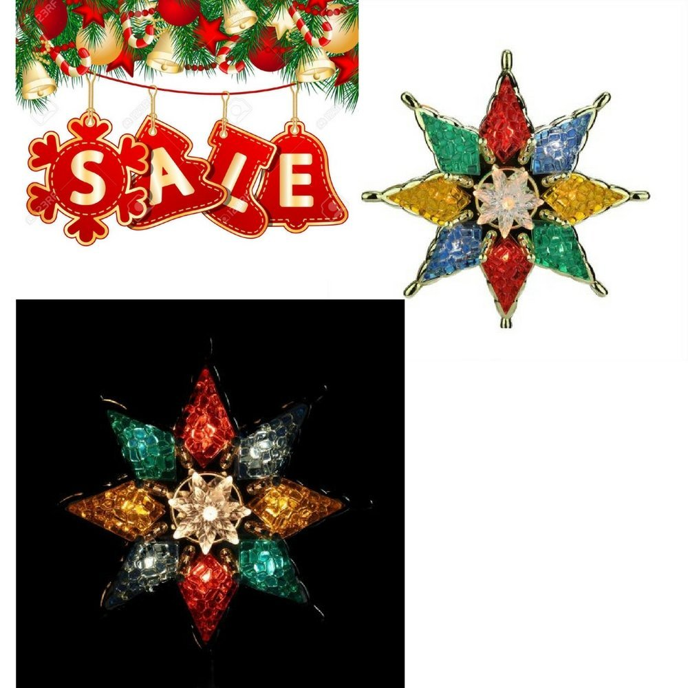 Get Quotations · Christmas Tree Topper Lighted Star Large Christmas Tree  Topper Colorful Holiday s Tree Topper Glass-Like c72543ae7
