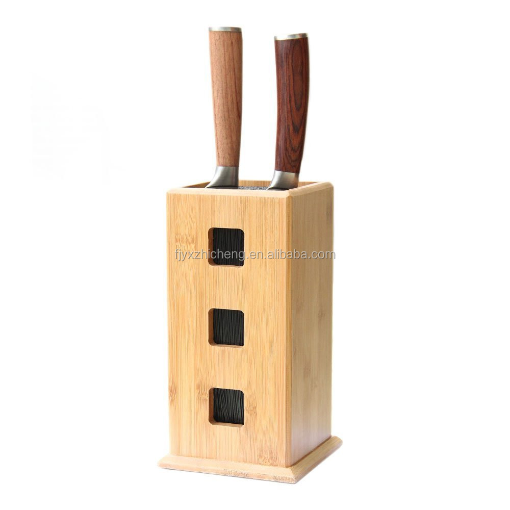 Kitchen Slotless Bamboo Bristle Knife Block Steady Kitchen Knives Storage  Stand For Knife Organizer And Holder