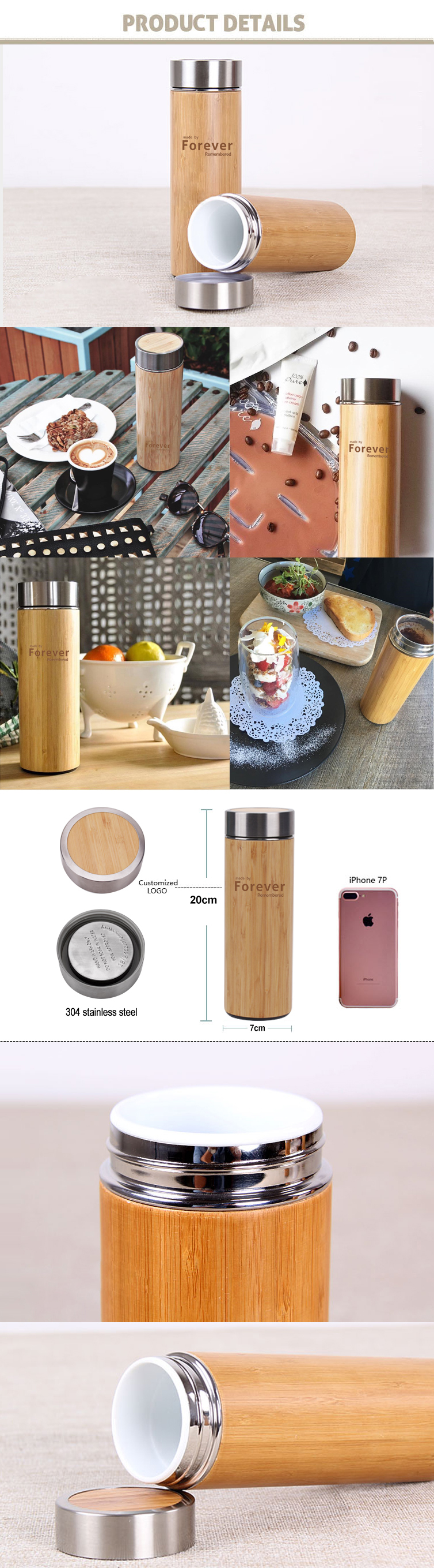 ED5008 260ML Natural Bamboo Stainless Steel Vacuum Insulated Bottles Wholesale
