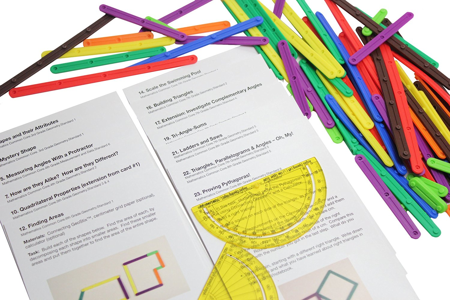 Geometry Snap Together Sticks with Compass and Activity Guides - Common Core Math Manipulative - Hands on learning math for elementary students