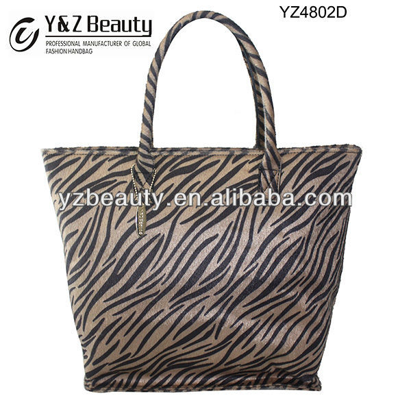 Leather Ladies Zebra Print Bags Fashion Winter Shopping Handbag 2014