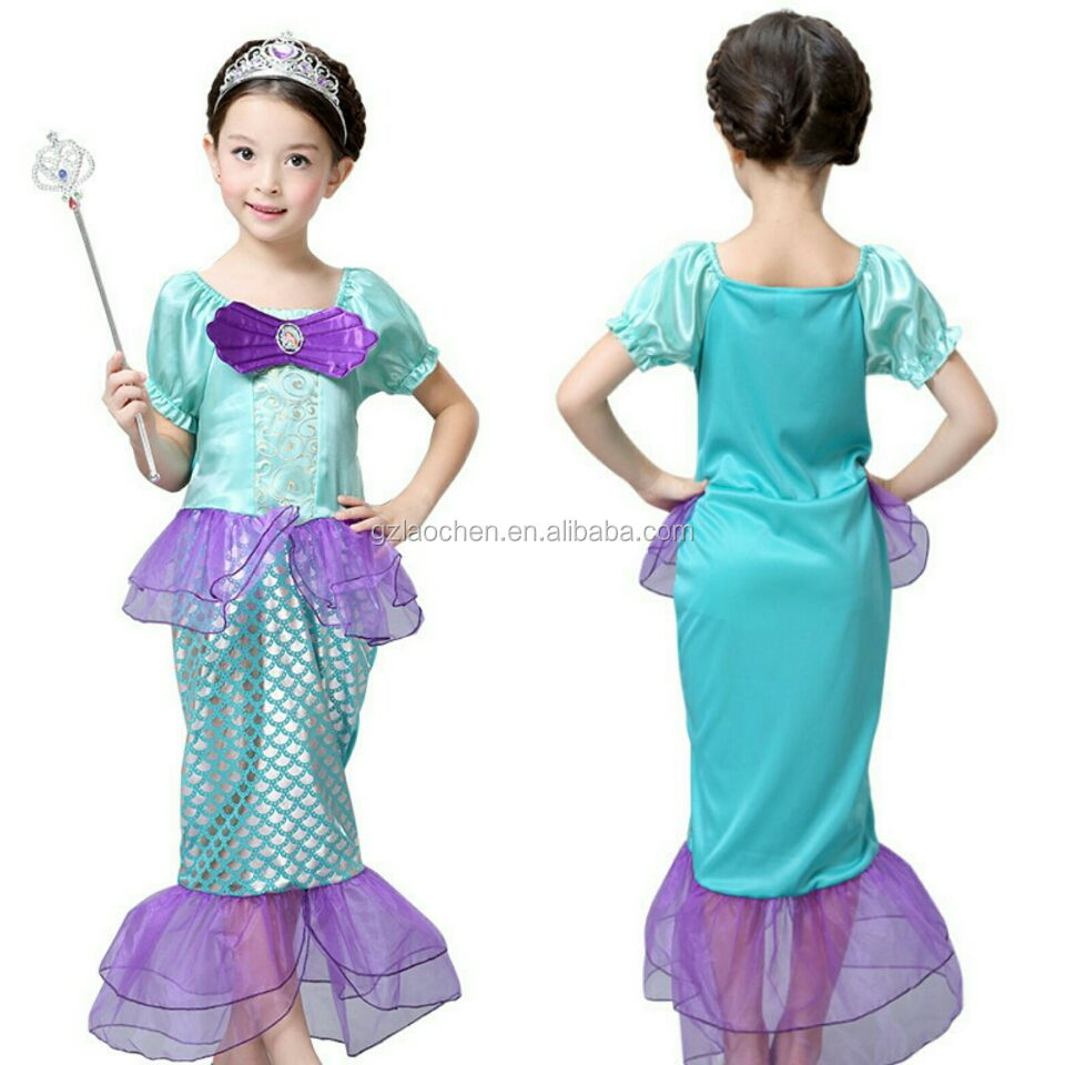 Halloween Little mermaid Ariel princess party dress for 2-12 years old girls