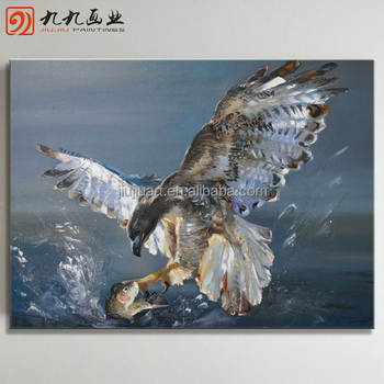 Wholesale Handmade canvas eagle painting Abstract oil Painting