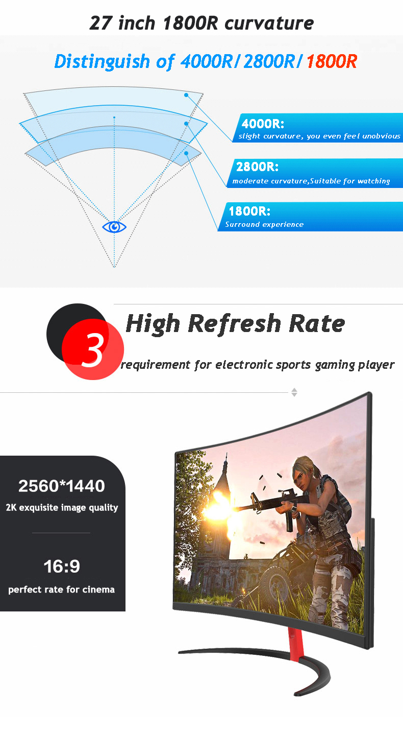 Hot frameless ips wide viewing angle 144hz 1 ms gaming monitor curved 27 inch for computer pc display