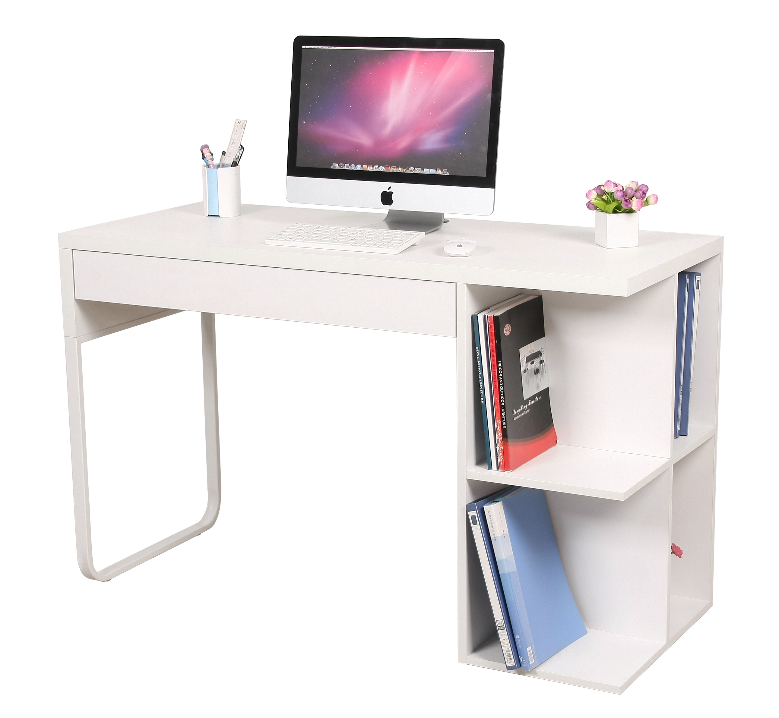 Hot Selling Low Price White High Gloss Wooden Computer Desk With
