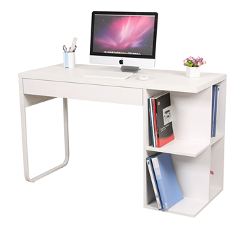 Hot Ing Low Price White High Gloss Wooden Computer Desk With Bookshelf