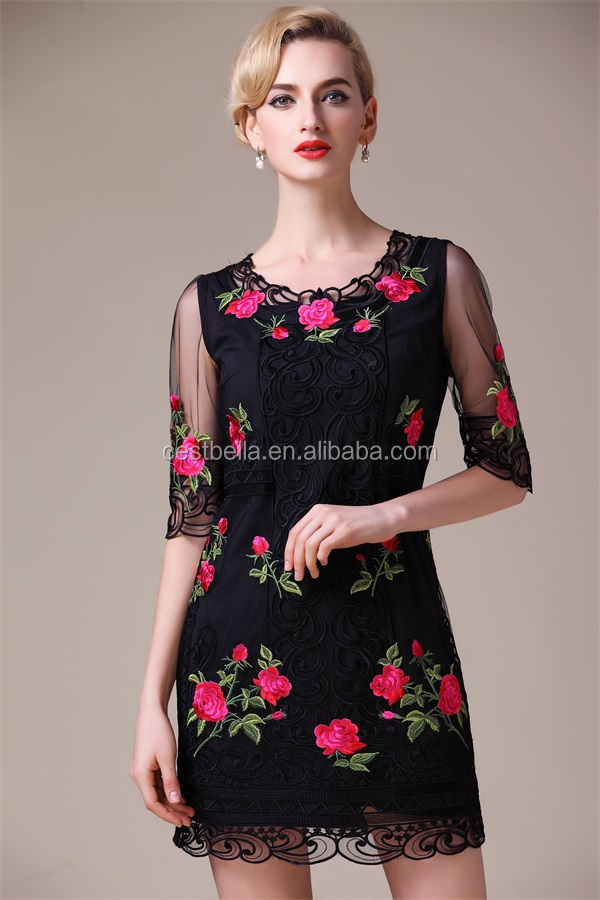 2016 luxury elegant embroidered dress for ladies and women