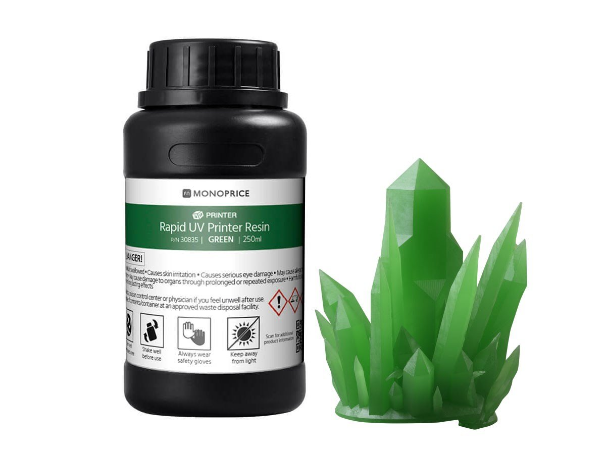 Monoprice Rapid UV 3D Printer Resin 250ml - Green | Coatible With All UV Resin Printers DLP, Laser, or LCD