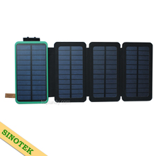 SINOTEK portable charger with torch foldable solar power bank 10000mah 20000mah