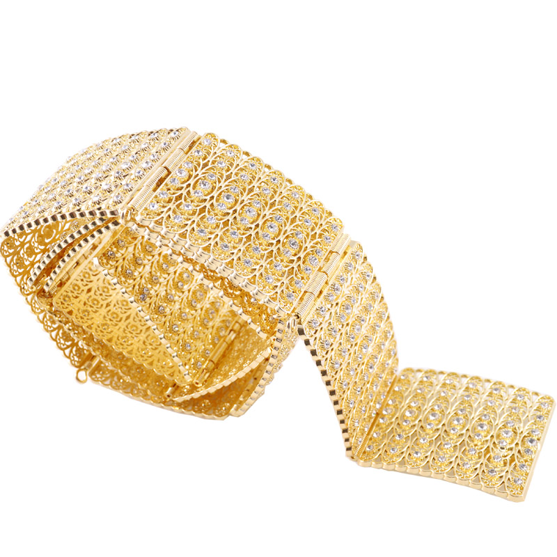 Full diamond Moroccan style belt for the bride's sumptuous gold jewelry waist chain for the Arabian women's gown wedding belt