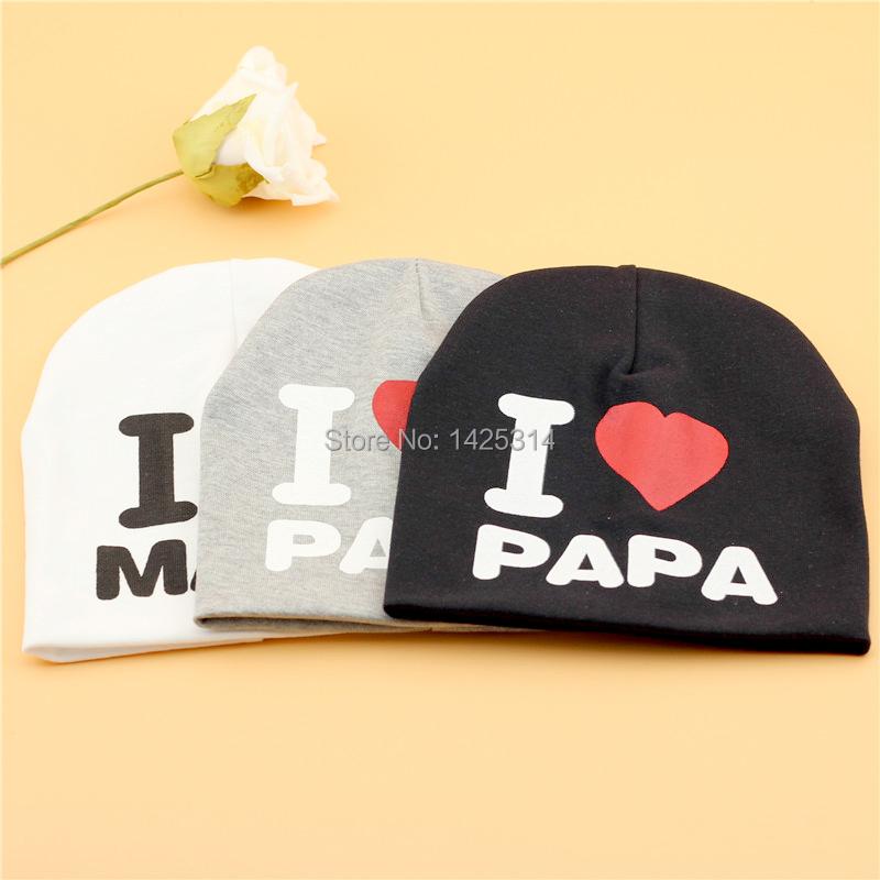 1pc Wool Knitting Baby Beanies Love PaPa I Love MaMa Cotton Crochet Children Skullies Sports Warm