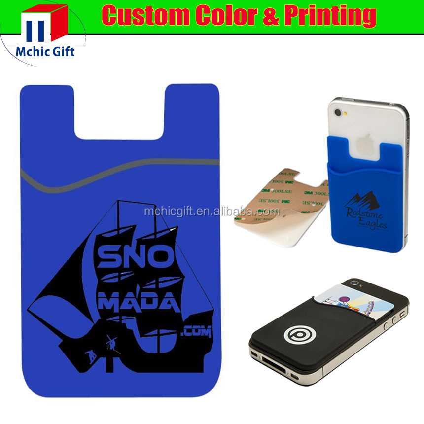 custom adhesive 3m sticker rubber cell phone silicone credit card - Custom Adhesive Cell Phone Card Holder