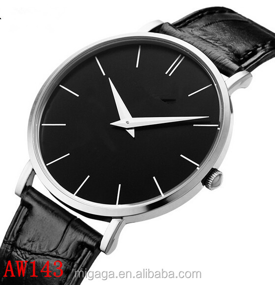 simple 2 hands white black brown dial wrist watch leather vintage