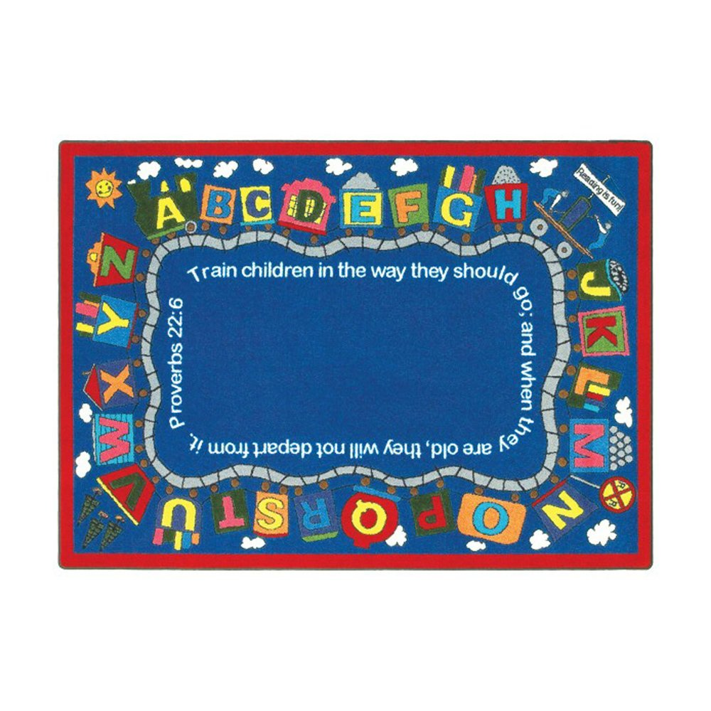 "Joy CarpetsKid Essentials Inspirational Area Rugs Bible Train Rug 7'8"""" x 10'9"""" Rectangle Multi Toys Christmas Gift"