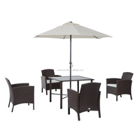 6 Piece Outdoor Patio Rattan Wicker Table, Chair and Umbrella Set