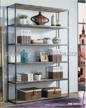Tm 015 American Style Durable Bookcase Furniture Wrought Iron Bookshelf