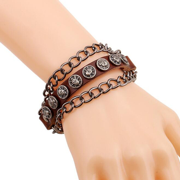 Fashion Angel Devil Eyes Cuff Bracelets Evil Eye Men Pulseira De Couro Masculina Man Leather