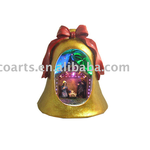 "11"" Christmas bell with LED & fiber optic lighting and Nativity"